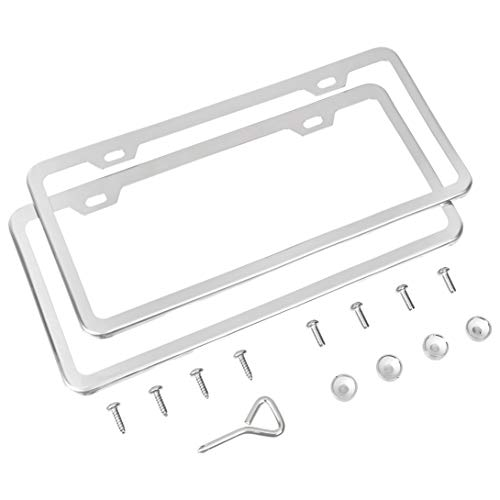 AmazonBasics Premium Stainless Steel License Plate Frame with Screw Caps - 2-Hole, 12.3″ x 6.3″, Chrome Mirror