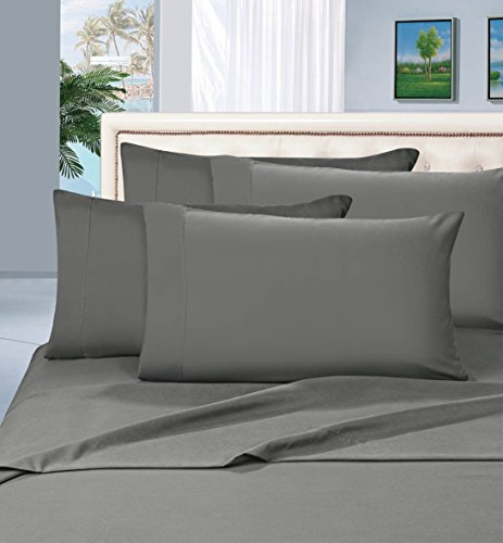 Elegant Comfort 1500 Thread Count Egyptian Quality 6 Piece Wrinkle Resistant Luxurious Sheet Set, King, Gray