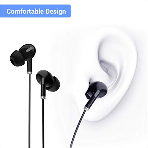 41qHdnJ3C L Portronics Conch Delta in-Ear Wired Earphone, 1.2m Tangle Free Cable, in-Line Mic, Noise Reduction, 3.5mm Aux Port and High Bass, for All Android & iOS Devices(Black)
