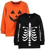 Simple Joys by Carter's Boys' Toddler 2-Pack Halloween Long-Sleeve Tees, Pumpkin/Skeleton, 2T