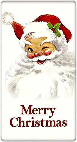 """Merry Christmas Winking Santa 100% Cotton Flour Sack Dish Tea Towel - Mary Lake Thompson 30"""" x 30"""""""