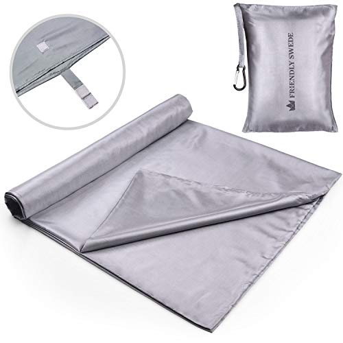 The Friendly Swede Sleeping Bag Liner - Travel and Camping Sheet, Pocket-Size, Ultra Lightweight, Silky Smooth (Silver Grey, Velcro)