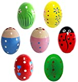 Kunyida 7Pcs Wooden Percussion Musical Egg Maracas Egg Shakers