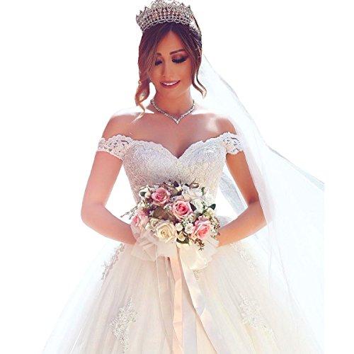41qVSK a35L Built in bra/Corset back/Appliques/Floor length. Elegant for Bridal wedding pageant. Dry cleaning