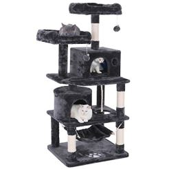 BEWISHOME-Cat-Tree-Condo-Tower-Kitten-Furniture-Activity-Center-Pet-Kitty-Play-House-with-Sisal-Scratching-Posts-Perches-Hammock-Grey-MMJ01B