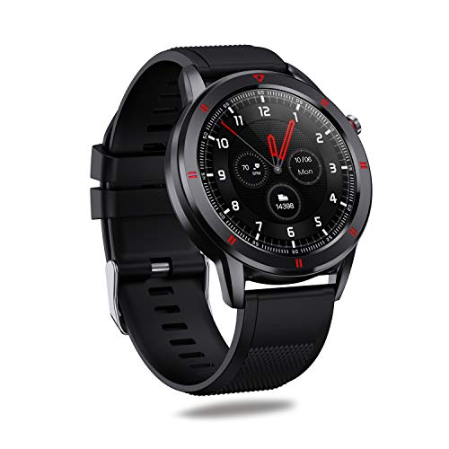 AQFIT W15 Fitness Smartwatch Activity Tracker  Waterproof   4.2 Bluetooth   Metal Case   Full Touch Screen Display   for Men and Women(Black)