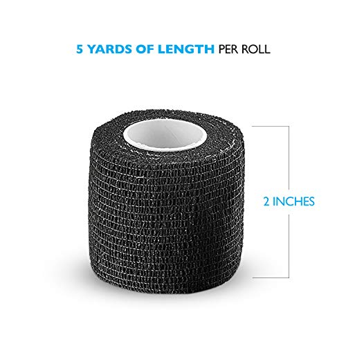 Self-Adherent Cohesive Bandage – 12 Pack Bulk | Black Self-Adhering Medical Wrap | 2″ Wide x 5 Yards Athletic Sports Tape Sweat & Water Resistant, First Aid deal 50% off 41qchOxiOjL