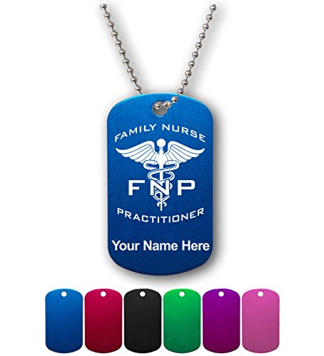 Military Style ID Tag - FNP Family Nurse Practitioner - Personalized Engraving Included