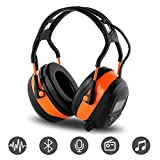 FM MP3 Bluetooth Radio Headphones Wireless Cancelling Headphones with 4GB SD Card Built-in Mic Electronic Noise Reduction Safety Ear Muffs Protection for Lawn Mower Work by WULFPOWERPRO