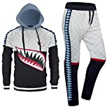 ALMAS APPAREL New Men Stripe Zip Pocket Track Pants Sweatsuit Men's Tracksuits Zipper Joggers (Medium, Navy-878877)