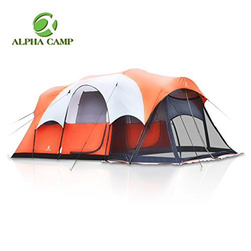 ALPHA CAMP 6 Person Family Tent with Screen Room Cabin Tent Design – 17′ x 9′