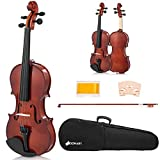 Sonart Full Size 4/4 Solid Wood Violin for Beginners, Acoustic Starter Kit with Hard Case, Rosin, Bridge, Bow, Violin Outfit Set, Gift for Kids Students