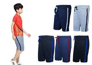A2Classic Boys Plain 3/4 Cotton Shorts/Capri Without Side Pocket for 2-17 Years (Combo of 5 Colors viz.Grey,Black,Melange Black,Navy Blue,Melange Blue)