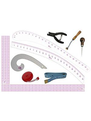 PGM Fashion Design Tools Set: Awl, Pattern Notcher, Tracing Wheel, Grid Rulers, French Curve, Measuring Tape, Curve…