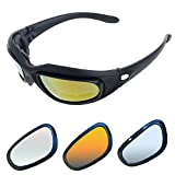Motorcycle Riding Glasses Kit - with Easy Swap 4 lens colors kit (1 full kit with 9 accessories)