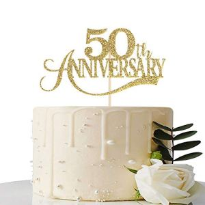 Gold Glitter 50th Anniversary Cake Topper – for 50th Wedding Anniversary / 50th Anniversary Party / 50th Birthday Party Decorations 41r4gA 2B8obL