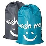 ZERO JET LAG 2 Pack Extra Large Travel Laundry Bag Set Nylon Rip-Stop Dirty Storage Bag Machine Washable Drawstring Closure 24 x 36 inches (Blue and Gray)