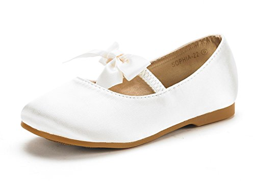 DREAM PAIRS SOPHIA-22 Adorables Mary Jane Front Bow Elastic Strap Ballerina Flat Little Kid New Ivory Size 11