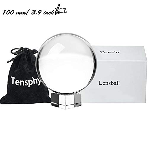 Tensphy 100 mm Photography Lensball Pro K9 Crystal Ball with Stand Clear Art Decor Glass Photo Sphere Ball for Photography Accessories Props