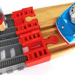 TrainLab Track Adapters Compatible with Trackmaster (2014+) to Wooden Railway Train Tracks (2pc) (Red) 41rDMMejbUL