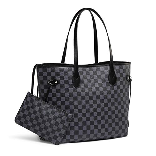 Daisy Rose Checkered Tote Shoulder Bag with inner pouch - PU Vegan Leather 1 Fashion Online Shop Gifts for her Gifts for him womens full figure