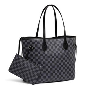 Daisy Rose Checkered Tote Shoulder Bag with inner pouch - PU Vegan Leather 29 Fashion Online Shop gifts for her gifts for him womens full figure