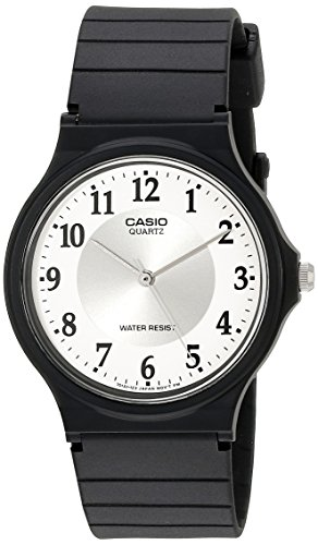 41rEajefZ1L Classic round watch featuring silver-tone sunray inner dial and white outer dial with black Arabic numeric hour markers 34 mm plastic case with resin glass dial window Quartz movement with analog display