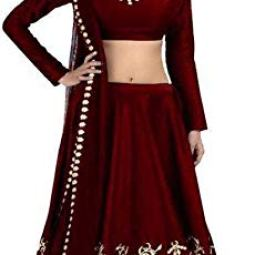 Suppar Sleave Girl's Satin Semi-stitched Lehenga Choli