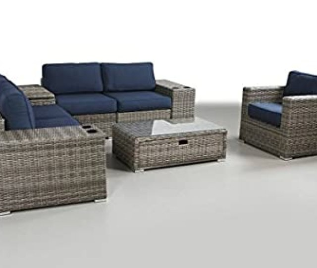 Patio Furniture Sunbrella Cushion Pe Rattan Outdoor Wicker Sectional Conversation Black Washable Seat Cushions