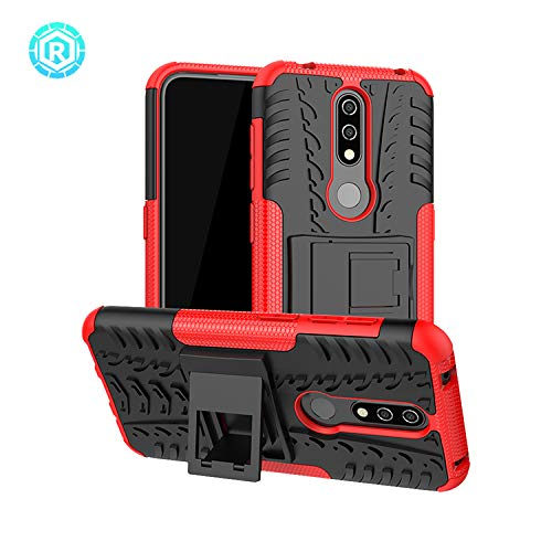Casodon Back Cover, Premium Real Hybrid Shockproof Bumper Defender Cover, Kick Stand Hybrid Desk Stand (Red) Back Case Cover for Nokia 4.2 2