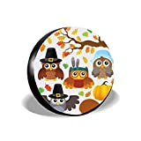 HOOSUNFlagrbfa Fall Cute Owls Autumn Tree Leaves Thanksgiving Turkey Pumpkin Spare Tire Cover Protector Suit for Jeep, Trailer, RV, SUV, Truck 14 15 16 17 inch