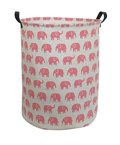 Sanjiaofen Large Sized Storage Baskets,Canvas Waterproof Storage Bin,Collapsible Organizer Baskets for Home,Office,Toy Bins,Laundry Hamper (Pink Elephant)