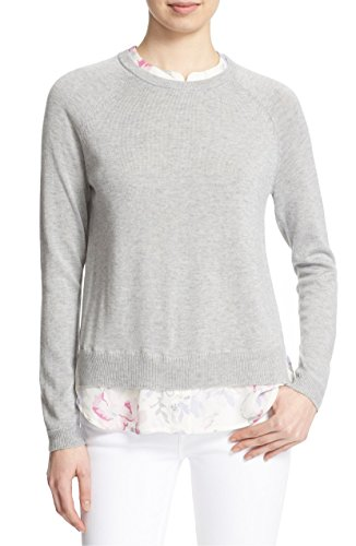 """91H9QGeBVFL A floral printed silk collar and hem create an easy, layered look on a lightweight crewneck sweater knit with touches of wool and cashmere to enhance the feel. 26"""" length. Crewneck. Long sleeves with ribbed cuffs. Vented hem. True to size. Size M = 8-10."""