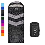 Sleeping Bag – Sleeping Bag for Indoor & Outdoor Use - Great for Kids, Boys, Girls, Teens & Adults. Ultralight and Compact Bags for Sleepover, Backpacking & Camping (Black / Gray - Right Zipper)