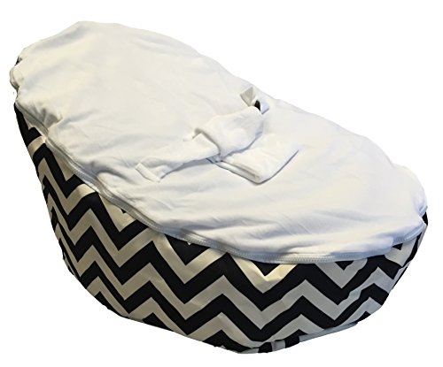 BayB Brand Baby Bean Bag - Filled - Black Chevron