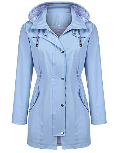 Kikibell Rain Jacket Women Striped Lined Hooded Lightweight Raincoat Outdoor Waterproof Windbreaker 1 Fashion Online Shop Gifts for her Gifts for him womens full figure