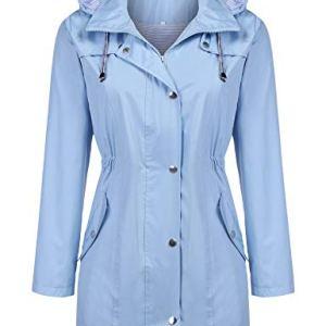 Kikibell Rain Jacket Women Striped Lined Hooded Lightweight Raincoat Outdoor Waterproof Windbreaker 28 Fashion Online Shop gifts for her gifts for him womens full figure