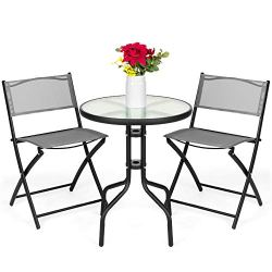 Best Choice Products 3-Piece Patio Bistro Dining Furniture Set w/Round Textured Glass Tabletop, Folding Chairs – Gray