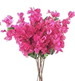 "jiumengya 5pcs Bougainvillea Glabra Artificial Floor Mounted Fake Bougainvillea spectabilis Flower 31.5"" for Wedding Centerpieces Decorative Flowers (hot Pink)"