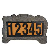 Outdoor Living and Style Solar Powered Lighted Address House Number Display Rock