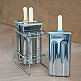 Windpnn Stainless Steel Popsicle Molds and Rack + 3 Ice Pop Makers + 50 Reusable Bamboo Sticks + 3 Silicone Seals + 20 Pop Bags + Cleaning Brush + 1 Rack