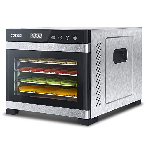 COSORI Premium Food Dehydrator Machine(50 Free Recipes), 6 Stainless Steel Trays w/Digital Timer and Temperature Control for Beef,Jerky,Fruit,Dog Treats,Herbs,2 Year Warranty,ETL Listed/FDA Compliant
