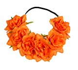 Floral Fall Rose Holiday Christmas Crown Festival Headbands Hippie Flower Headpiece F-53 (Orange)