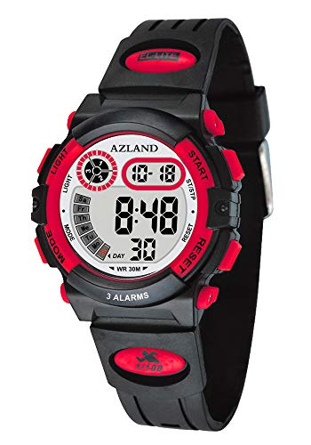 AZLAND 3 Multiple Alarms Reminder Sports Kids Wristwatch Waterproof Boys Girls Digital Watches Camo (Red)