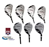 AGX Men's Tour XS Senior Flex Regular Length; Complete Hybrid Game Improvement Stainless Steel Irons Set 3,4,5,6,7,8 & 9 Graphite Edition: Right Hand