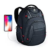 Laptop Backpack,Swissdigital Busniess Backpack with USB Port,RFID Protection and TSA Smart Scan for Travel Fits Under 15.6-Inch Laptop for Man, Black