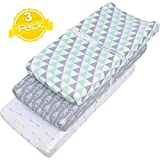 Changing Pad Cover Set | Cradle Bassinet Sheets/Change Table Covers for Boys & Girls | Super Soft 100% Jersey Knit Cotton | Grey and White | 150 GSM | 3 Pack