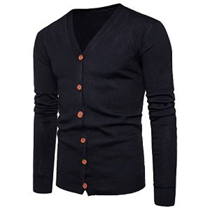 G-Real Mens Casual Slim Fit Cardigan Sweaters V-Neck Long Sleeve Button-Down Basic Designed