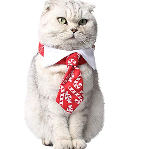 ANIAC Pet Elastic Sweets Necktie with Bow tie Collar Neck Accessories for Cats and Dogs Red 1