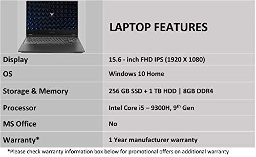 Lenovo Legion Y7000 9th gen Intel Core i5 15.6 inch FHD Gaming Laptop (8GB/1TB HDD+256 GB SSD/Windows 10/NVIDIA GTX 1050 3GB Graphics/Black/2.3Kg), 81V4000LIN 6